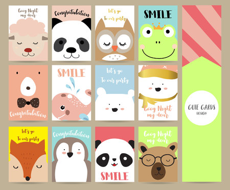 Pink blue green collection for banners,Flyers,Placards with owl,bear,penguin,fox,sheep,fog,whale and panda Иллюстрация