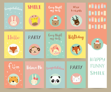 Pink blue green collection for banners,Flyers,Placards with bear,fox,rabbit,cat,reindeer,panda,tiger,giraffe and monkey 矢量图像