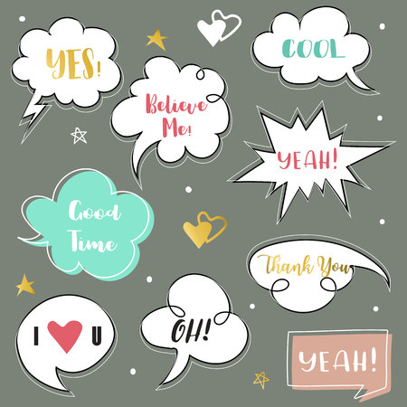 Pink,blue bubble talk with Believe me,Yes,Good time,Thank you,Yeah and I love you wording Illustration