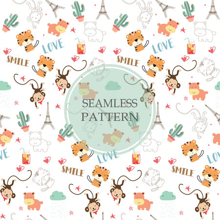 Light orange,white seamless pattern with tiger,hippopotamus,monkey and cactus Çizim