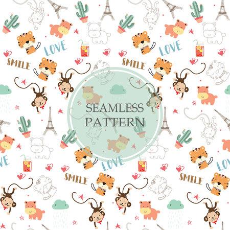 Light orange,white seamless pattern with tiger,hippopotamus,monkey and cactus Vectores