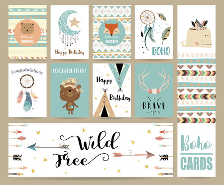 cute bear: Cute cards for banners,Flyers,Placards with feather,fox,bear,whale,wild and arrow in boho style