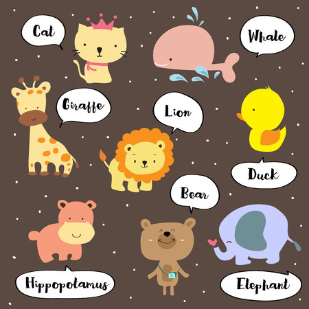 Cute vocabulary with cat,giraffe,hippopotamus,bear,lion,whale,elephant and duck Illustration