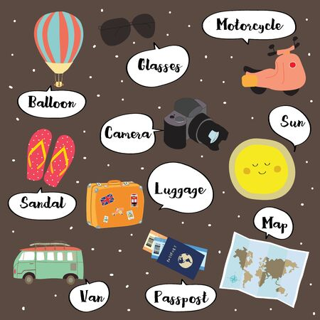 Cute vocabulary with balloon,glasses,motorcycle,sandal,camera,sun,luggage,van,passport and map