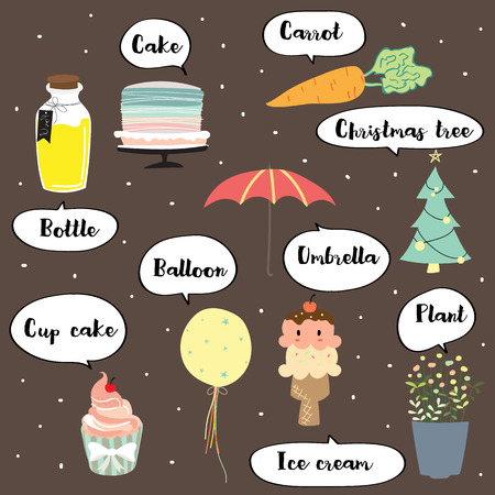Cute vocabulary with cake,carrot,bottle,balloon,cap cake,ice cream,umbrella,plant and christmas tree