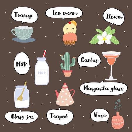 Cute vocabulary with teacup,teapot,ice cream,flower,milk,cactus,vase and glass jar