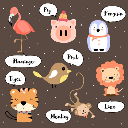 Cute vocabulary with flamingo,tiger,pig,penguin,bird,monkey and lion