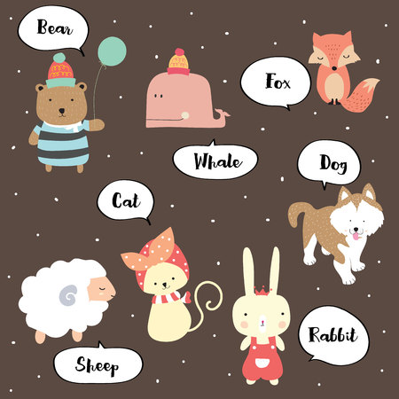 Cute vocabulary with bear,whale,fox,cat,dog,sheep and rabbit