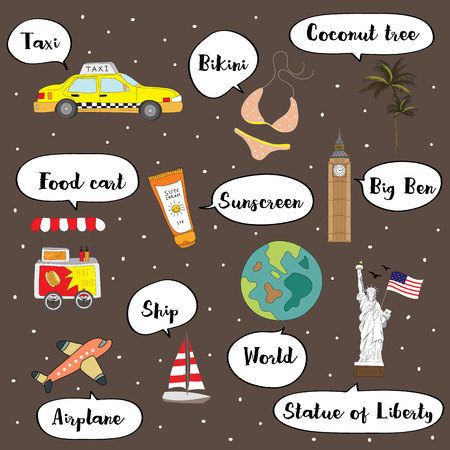 Cute vocabulary with taxi,bikini,coconut tree,food cart,sunscreen,ship,world,airplane and Statue of Liberty
