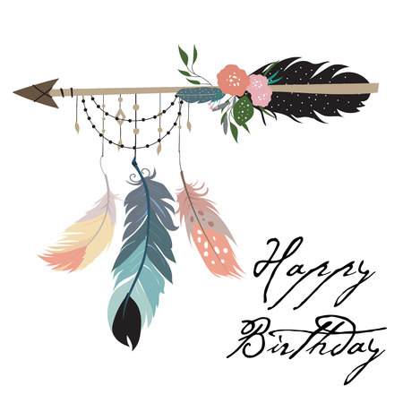 귀여운 카드, 전단지, 깃털이 달린 플래 카드, 화살 일러스트