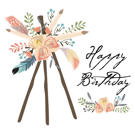 cute cards for banners,Flyers,Placards with feather Illustration