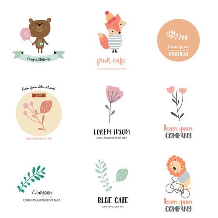 クマ、キツネ、ライオン、葉と花のかわいいロゴデザイン  イラスト・ベクター素材