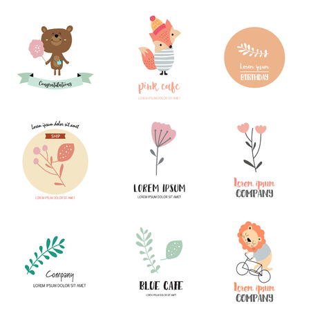 Cute logo design with bear,fox,lion,leaf and flower