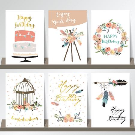 Cartes mignonnes pour bannières, Flyers, Plaques avec plume, flèche, couronne, cage, fleur et gâteau