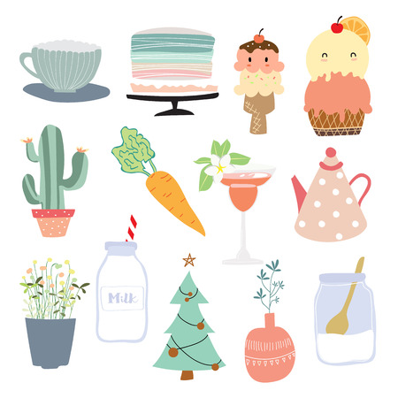 Cartoon icon collection with pot,cake,ice cream,carrot,flower,christmas,milk and cactus.