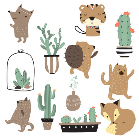 Cartoon icon collection with tiger,fox,bear,cactus and porcupine. Vectores