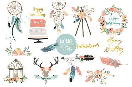 Card template collection for icon,Flyers,Placards with wreath,feather,flower,wild,cakel and arrow in boho style