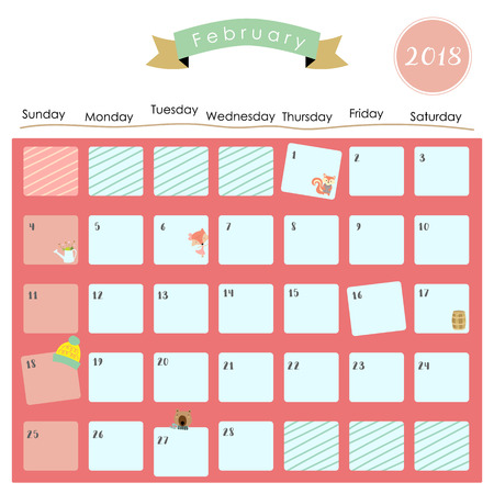 colorful cute february 2018 calendar with squirrel fox bear and