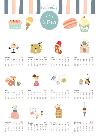 numbers abstract: Colorful cute monthly calendar 2018 with whale,tree,monkey,cake,fox,girl and squirrel.Can be used for web,banner,poster,label and printable