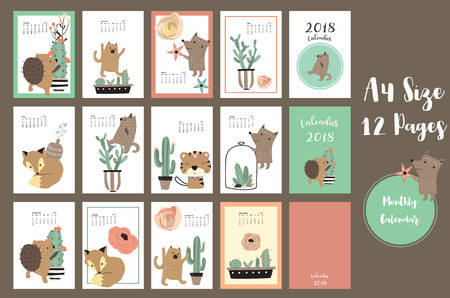 weekly: Colorful cute monthly calendar 2018 with fox,bear,cactus and porcupine.Can be used for web,banner,poster,label and printable Illustration