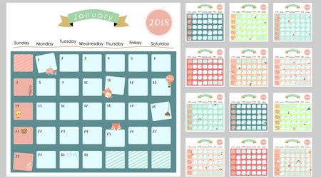 Colorful cute monthly calendar 2018 with lion,fox,cat,bear,balloon.Can be used for web,banner,poster,label and printable Çizim