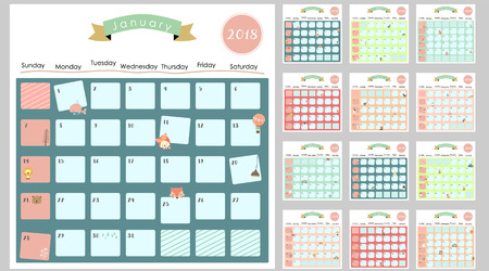 Colorful cute monthly calendar 2018