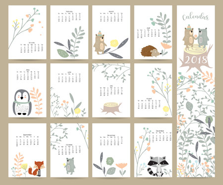 Colorful cute monthly calendar 2018 with wild,fox,bear,skunk,leaf,stump,flower,penguin and porcupine.Can be used for web,banner,poster,label and printable