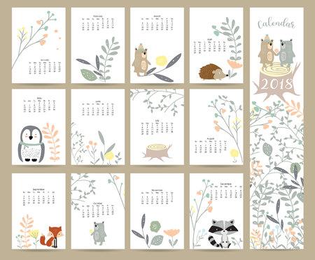 Kleurrijke leuke maandelijkse kalender 2018 met wild, vos, beer, stinkdier, blad, stronk, bloem, pinguïn en stekelvarken. Kan worden gebruikt voor web, banner, poster, label en afdrukbare