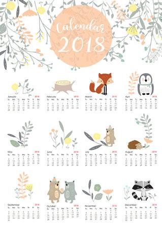 Kleurrijke leuke maandelijkse kalender 2018 met wild, vos, beer, stinkdier, blad, stronk, bloem, pinguïn en stekelvarken. Kan worden gebruikt voor web, banner, poster, label en afdrukbare Stock Illustratie