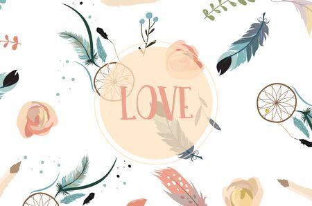 Blauw roze verzameling voor banners, borden met veren, krans en roos Stock Illustratie