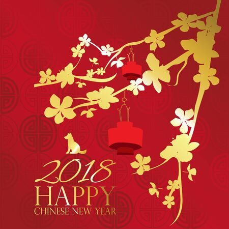 Gold red Chinese card with dog,puppy,flower and lantern.Chinese wording translation for Happy new year 2018 Vectores