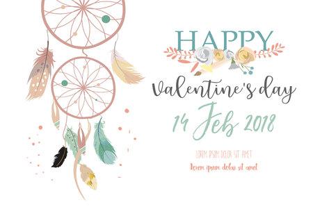 장미 핑크 컬렉션, 배너, 리프 카드, 꽃, 깃털 해피 발렌타인 데이