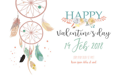 Roze verzameling voor spandoeken, posters met blad, bloem en veren voor Happy Valentines day Stock Illustratie