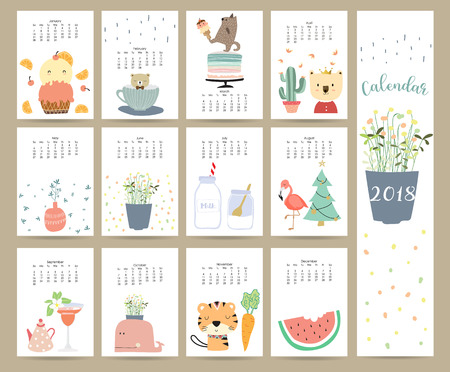 Colorful cute monthly calendar 2018 with bear,ice cream,cuctus,flamingo,flower,Christmas tree,cake,tiger,carrot and porcupine.Can be used for web,banner,poster,label and printable