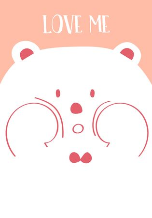 Pink collection for banners,Placards with bear and heart. Love me