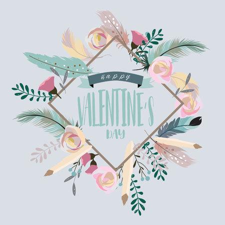Colección del día de San Valentín para pancartas, pancartas con hojas, flores y plumas