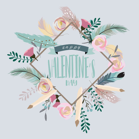 Valentine's day collection for banners,Placards with leaf,flower and feather
