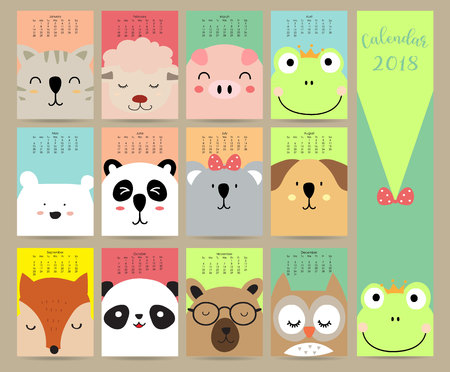 Colorful pastel monthly calendar 2018 with cat,sheep,pig,frog,bear,panda,dog,fox and owl.Can be used for web,banner,poster,label and printable