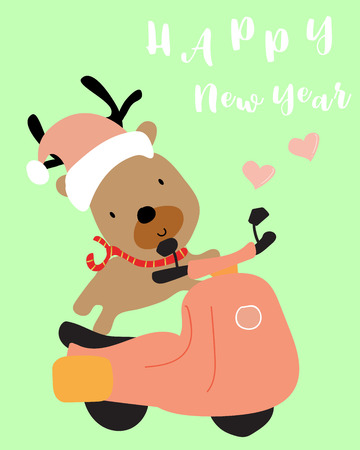 green pastel greeting card with reindeer on bicycle and happy new year wording Illustration
