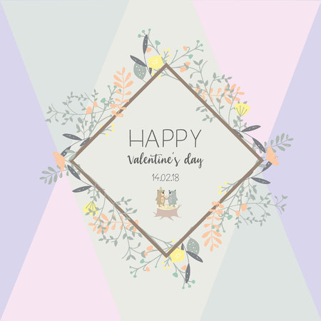 Valentines dat collection for banners,Placards with leaf,flower and feather