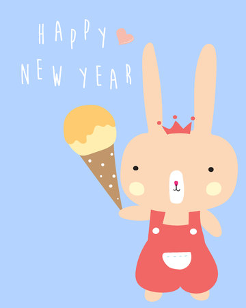 Blue pastel greeting card with rabbit holds ice cream and happy new year wording