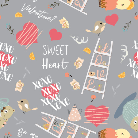 Pink, gray love collection for banners, placards with staircase, bird, heart, pot, ice cream and bear.