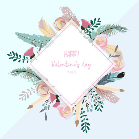 Valentine's day collection for banners, Placards with leaf, flower and feather. Ilustração