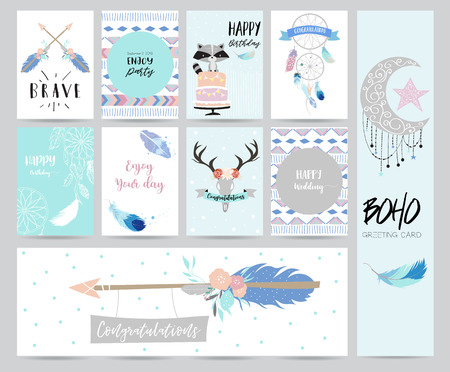 cute cards for banners,Flyers,Placards with feather,skunk,wild,moon,star,arrow,cake and ribbon