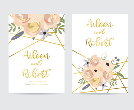 Geometry gold wedding invitation card with flower,leaf and frame Illustration