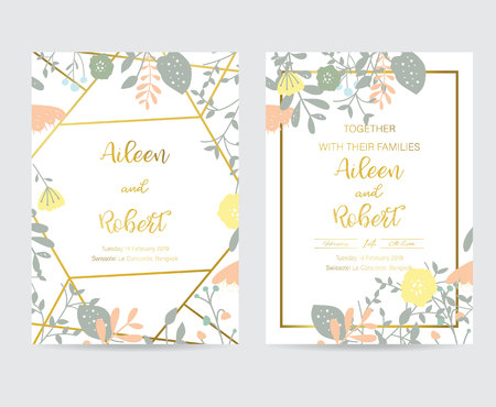 Geometry gold wedding invitation card with flower,leaf and frame 向量圖像