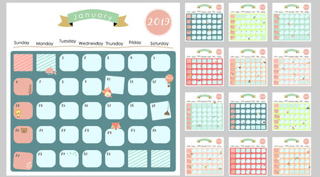 Colorful cute monthly calendar 2019 with lion,fox,cat,bear,balloon.Can be used for web,banner,poster,label and printable 写真素材 - 102639862