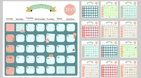 Kolorowy ładny miesięczny kalendarz 2019 z lwem, lisem, kotem, niedźwiedziem, balonem, może być używany do sieci, banera, plakatu, etykiety i do druku