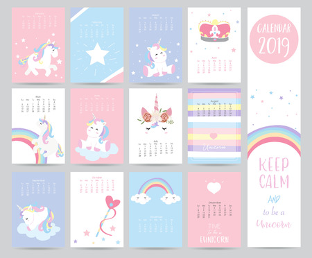 Cute monthly calendar 2019 with sweet unicorn,crown,heart and wreath for children.Can be used for web,banner,poster,label and printable Vectores