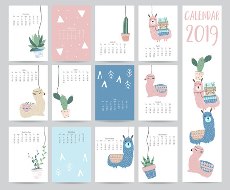 Cute monthly calendar 2019 with llama,luggage,cactus,geometrical for children.Can be used for web,banner,poster,label and printable Banque d'images - 102651618